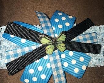 Blue butterfly baby headband