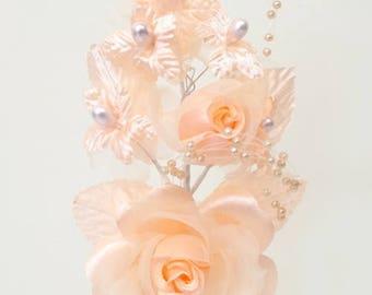 "6"" Peach Silk Corsage Flowers with Pearl Spray"