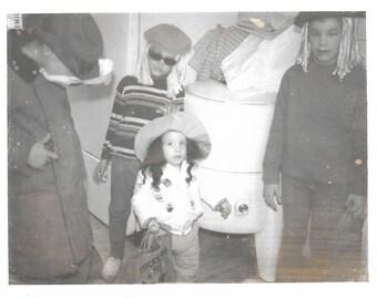 "Vintage Snapshot ""Beatniks"" Halloween Costumes Black & White Polaroid Found Vernacular Photo"