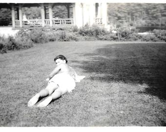 "Vintage Snapshot ""Surprised"" Woman Sunbather Looks Over Shoulder At Photographer Original Black & White Found Vernacular Photo"