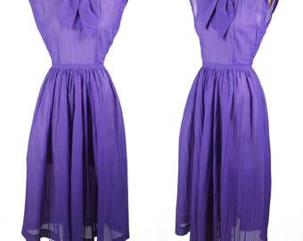 1950s Dress // Purple Nylon Plisse Sleeveless Scarf Collar Dress