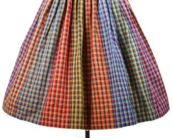 1950s Skirt // Pleated Colorful Plaid Full Skirt