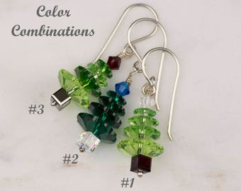 Christmas Tree Earrings made with Swarovski Elements   Sterling Silver Holiday Jewelry