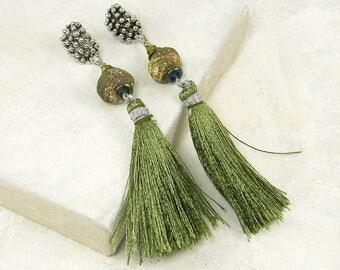 Long Green Tassel Earrings, Handmade Rustic Ceramic Bead Earrings, Silver Textured Tribal Post Earrings |EC1-2