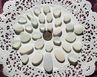 30 JQ WHITE genuine Beach  Sea Glass pendants DW-J20-32