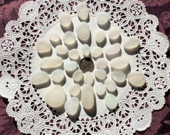 30 JQ WHITE genuine Beach  Sea Glass pendants DW-J10-33-C