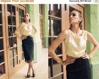 FLASH SALE 80s Skirt Black Vintage Tassel Beaded Sequin High Waisted Pencil Skirt