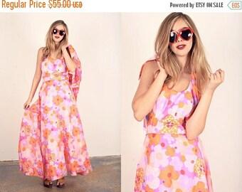 FLASH SALE 60s Hippie Dress Vintage Pink Floral Halter Maxi Dress