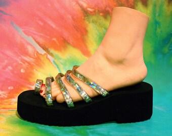 Vintage 90s Womens Club Kid Platform Gothic Cyber Hologram Toe Strap Sandals Size 9