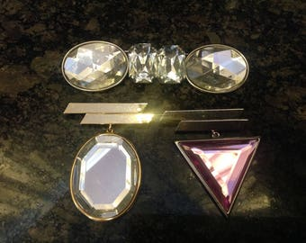 TRIO of Avant-Garde~Art Deco~Glass Pins~Brooches