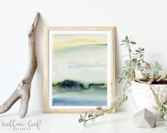 Blue Peace, beach art , Minimal, watercolor print, wall art