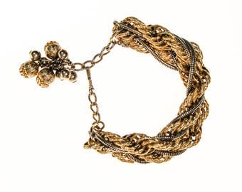 Thick Gold Chain Bracelet with Gold Dangling Beads
