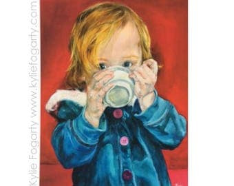 """Portrait  - Child Portrait - Fine Art Archival / Giclee Print -from Original Painting of a Child Drinking -  """"Babyccino"""" - Kylie Fogarty"""