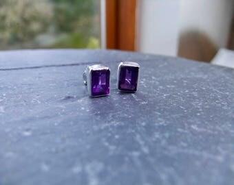 Handmade Amethyst Sterling Silver Stud Earrings