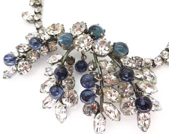 Vintage 1960s Blue Glass Bead Floral Cluster Rhinestone Necklace