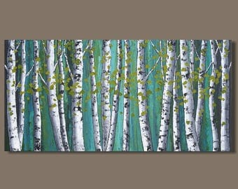 FREE SHIP abstract painting, birch trees painting, panoramic painting, forest painting, landscape painting, art on canvas, aspens, turquoise