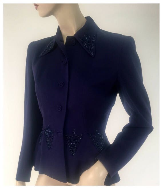 Vintage 1940s Hand Tailored Navy Blue Beaded Gaberdine Jacket by Julliard