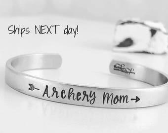 Archery Arrow Cuff Bracelet - Hand Stamped Cuff Bracelet - Archery Mom Bracelet - Archery Bracelet - Mom Jewelry - Archery Gift
