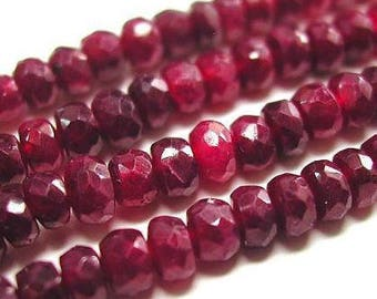 Red Ruby Beads 5,15,,50 Drilled 3.5mm Faceted Rondelles Genuine Precious Gemstone Pigeon Blood USA Seller Take 20% Off Ruby Jewelry Supplies