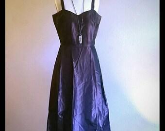 Vintage chocolate taffeta handmade slip dress
