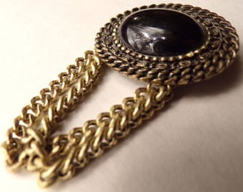 1990's BROOCH NECKLINE PIN black with chains 90's (C5)