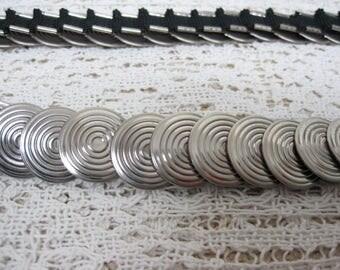 Vintage Silver Disc Stretch Belt 35'' - 45'' long