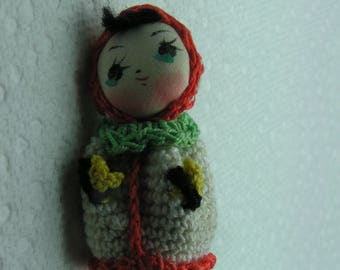 """Vintage Japanese Hand Crocheted AMIGURUMI Doll ~ 2"""""""