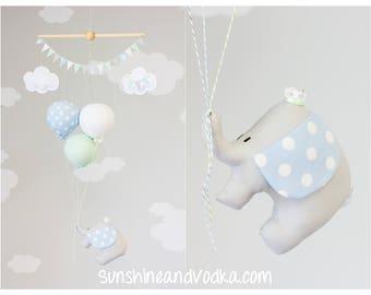 Elephant Baby Mobile, Pastel Blue, Mint and White, Boys Nursery Decor, Ceiling Mobile, Travel Theme Nursery, i244