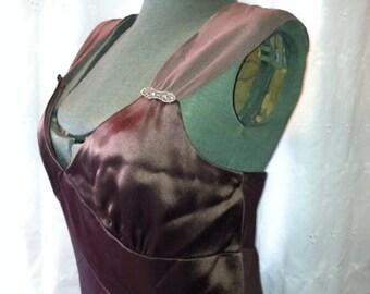 Vintage Summer Sale Flapper inspired chocolate satin dress 12