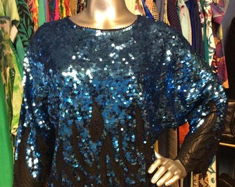 Vintage Blue Sequin Oversized Top
