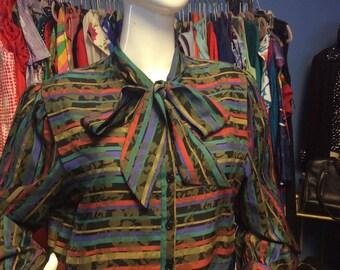 Vintage Striped Floral Secretary Dress