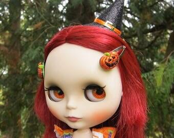 Jack-o-Lantern Barrettes for Blythe & Pullip Dolls Halloween