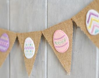 Easter Egg Banner - Easter Decor - Easter Burlap Banner - Easter Egg Garland - Easter Photo Prop - Easter Egg Bunting - Mini Burlap Banner