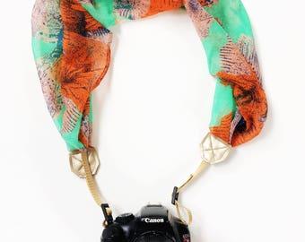 NEW Green and Orange Floral Camera Strap, DSLR Scarf Camera Strap, Stylish Green/Orange/Gold Camera Strap