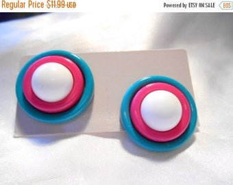 50% Off Sale Avon Club Capri Plastic Bead Pierced Earrings in White, Pink, Yellow and Teal