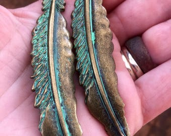 Feathered Patina Earrings