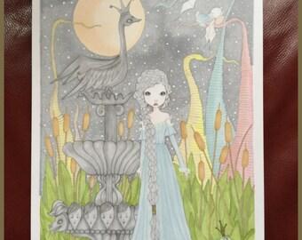 Original art fantasy garden lowbrow fairytale art