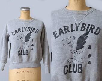1950s Sweatshirt Roadrunner Early Bird Club Athletic Sweatshirt