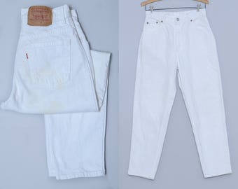90s White Denim Levis High waisted Tapered Leg Jeans 29 x 28.5