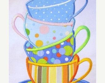 ON SALE Tea Time 01 Machine Applique Embroidery Designs - 5x7 & 6x8