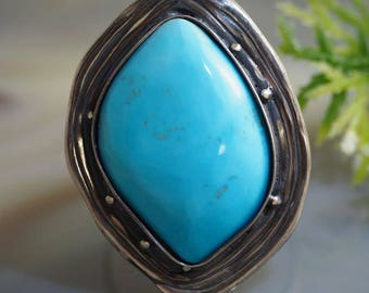 Turquoise Ring Statement Ring Sterling Silver Jewelry