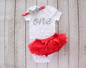 "First Birthday Silver Glitter ""one"" Bodysuit, Tutu Bloomer & Sequin Bow Headband in Red - 1st Birthday Outfit - Cake Smash - Baby Girl"