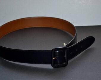 Vintage Authentic Ralph Lauren  leather black belt size L 1.5' wide leather  buckle Designer Lauren belt
