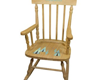 Personalized Natural Childrens Rocking Chair with Aqua TeePee Design-spin-nat-242ab
