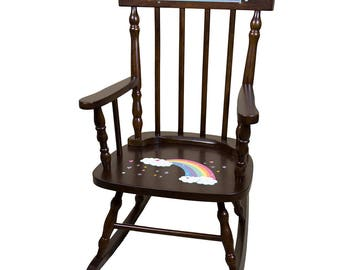 Personalized Espresso Childrens Rocking Chair with Pastel Rainbow Design-spin-esp-235b