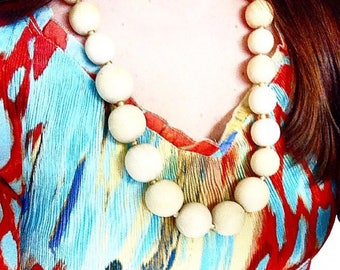 Wooden Bead Statement Necklace