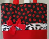 Red & Black LOVE Lips Kisses Hot Valentine Zebra  BAG Purse -Tote or Diaperbag