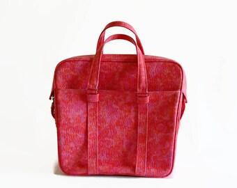 vintage Samsonite pink marble tote bag carry on 1960s travel luggage