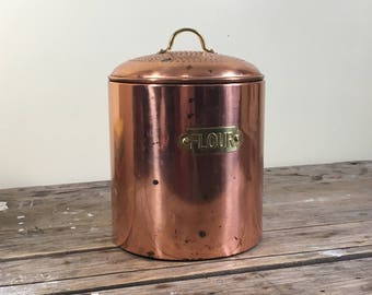 Copper Canister with hammered effect lid, Flour