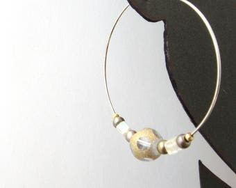 Hoop Earrings, Neutral colours, Clear Glass Gold dusted beads, silver and gold, beaded, Silver Hoop Earrings.